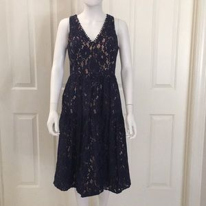 Eliza J Fit and Flair Navy Lace Dress Pockets 4
